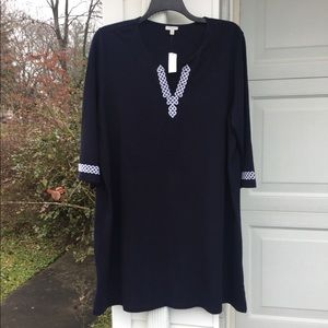 NWT Talbots Navy White Embroidery Swimsuit CoverUp